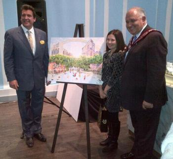 Olga Pankova poses with Chris Bratty of The Remington Group and Markham Mayor Frank Scarpitti
